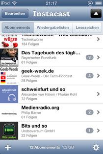 Screenshot Instacast von Markus' iPod