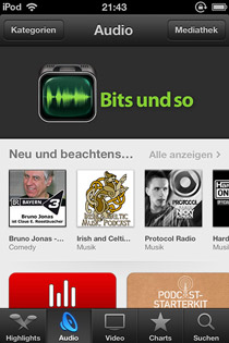 Screenshot Podcasts von Apple