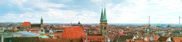 Blick von der Freiung der Nürnberger Burg auf die Altstadt