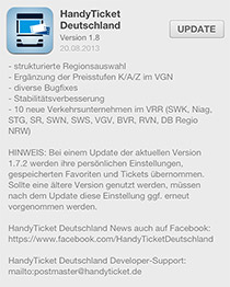 Informationen zum Update Handy-Ticket vom 20.08.2013