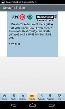 Gebuchtes Handy-Ticket des Kölner Verkehrsverbunds.