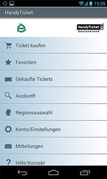 Übersicht und Navigation der App Handy-Ticket auf einem Android Smartphone.