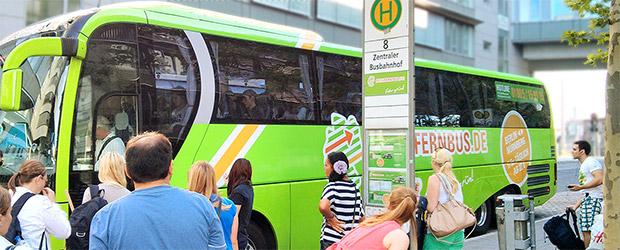 Haltestelle von meinfernbus.de am ZOB in Nürnberg