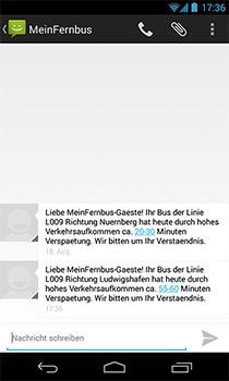 SMS Meinfernbus Anzeige am Smartphone