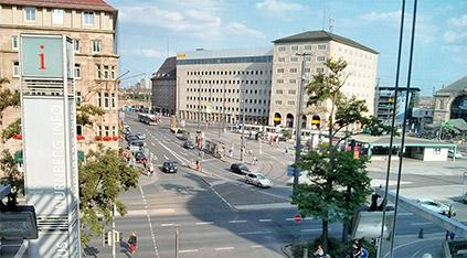 Blick vom KunstKulturQuartier in Richtung Hauptbahnhof Nürnberg