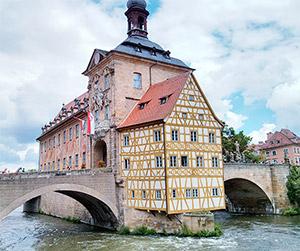 Blick auf das alte Rathaus in Bamberg