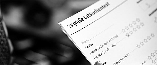 Das Wertungsformular des großen Nürnberger Lebkuchen Tests