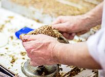 Rohe Lebkuchenmasse wird in einen Lebkuchen von Düll geformt