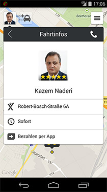 Screenshot App myTaxi - profil vom Taxifahrer