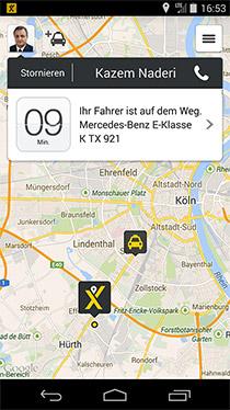 Screenshot App myTaxi - Ankunftszeit für das bestellte Taxi
