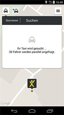 Screenshot myTaxi App Köln, Suche nach Taxis