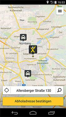 Screenshot myTaxi-App Nürnberg