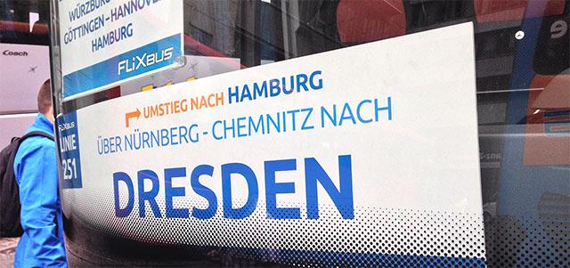 Hinweisschild Fahrziel Flixbus