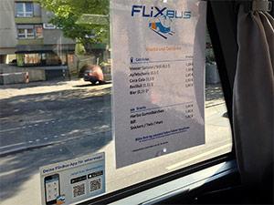 Snack Getränke Liste Flixbus