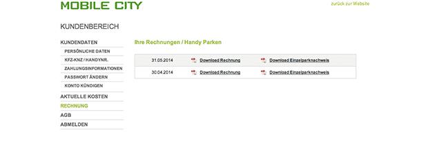 Screenshot Mobile City Rechnungen