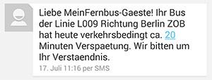 Meinfernbus SMS