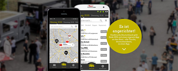 Screen der Food Truck App für Android und iPhone