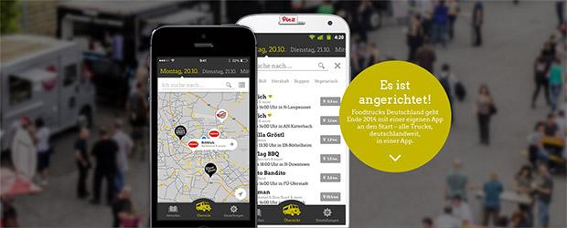 Screen der Food Truck App für Android und iPhone