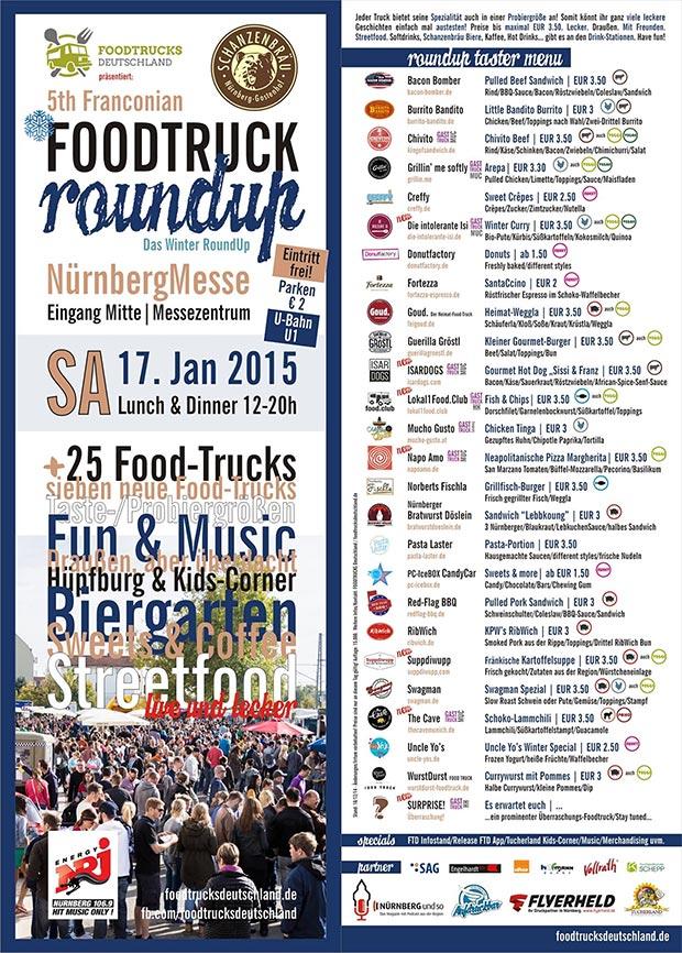 Flyer zum 5. Food Truck RoundUp Nürnberg