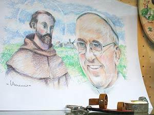 Zeichnung Franziskus Papst