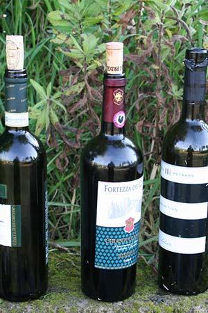 drei geleerte Weinflaschen