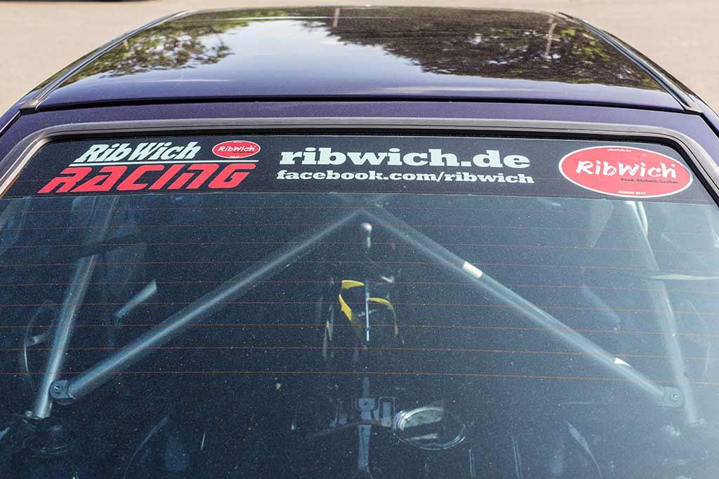 Werbung Ribwich Heckscheibe