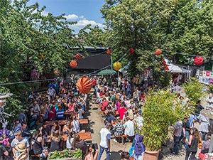 Außenbereich des Streetfood Markt Erlangen