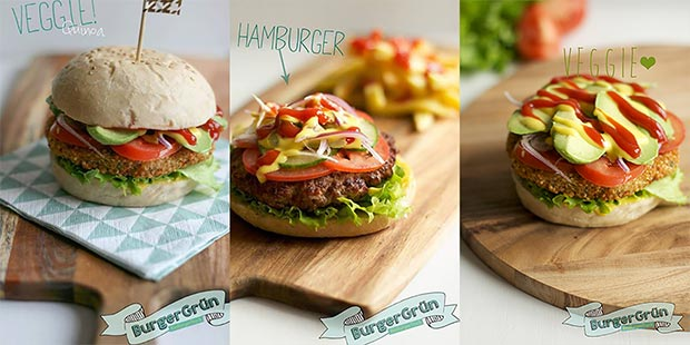 Drei leckere Burger