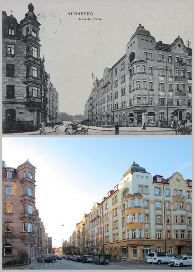 Die Kreuzung Kreling- und Meuschelstraße 1906 und 2016