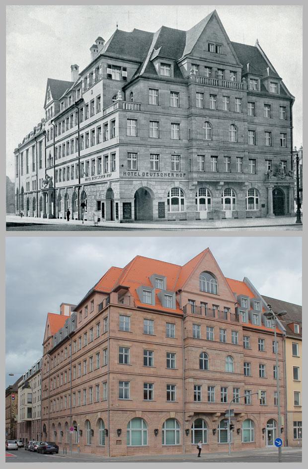 Der Deutsche Hof, aufgenommen 1913 und 2016