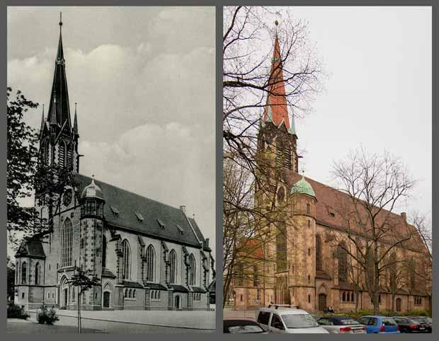 Die Dreieinigkeitskirche, aufgenommen zwischen 1905 und 1945 beziehungsweise 2016