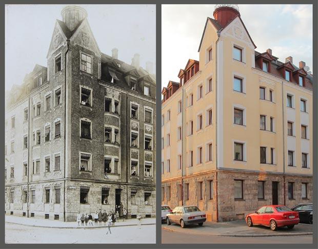Das Eckhaus Heinrichstraße 8, aufgenommen zwischen 1909 und 1917 beziehungsweise 2016