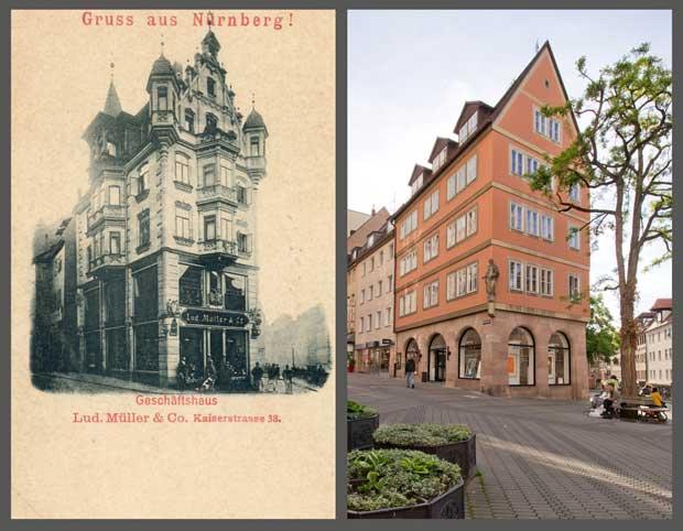 Das Haus Kaiserstraße 38, aufgenommen zwischen 1895 und 1905 beziehungsweise 2016