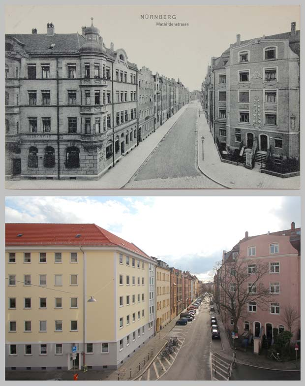Die Mathildenstraße, aufgenommen zwischen 1905 und 1920 beziehungsweise 2016