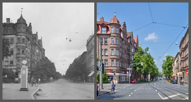 Die Ecke Bucher und Rieterstraße, aufgenommen zwischen 1936 und 1945 beziehungsweise 2016