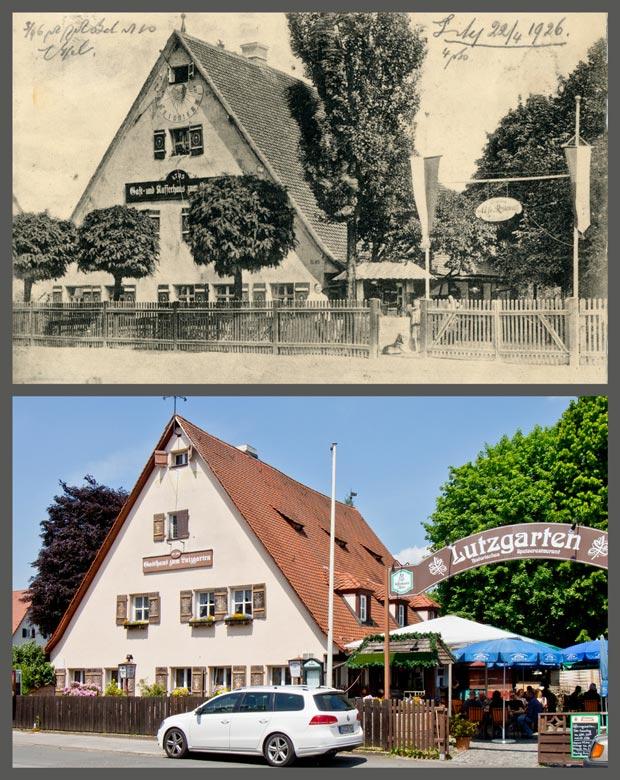Der Lutzgarten, aufgenommen zwischen 1905 und 1926 beziehungsweise 2016