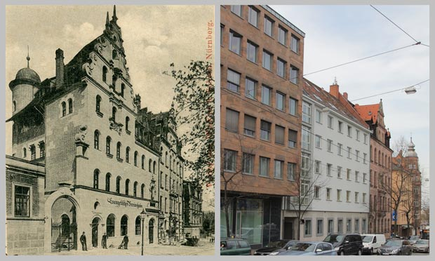 Die Häuser Bucher Straße 5 bis 11, 1892 und 2016
