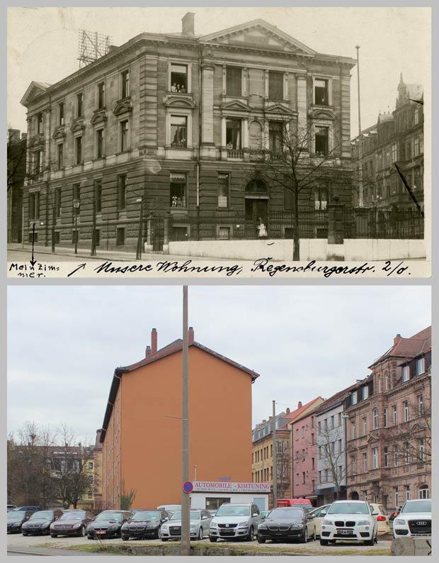 Das Grundstück Regensburger Straße 2, zwischen 1905 und 1912 und 2016