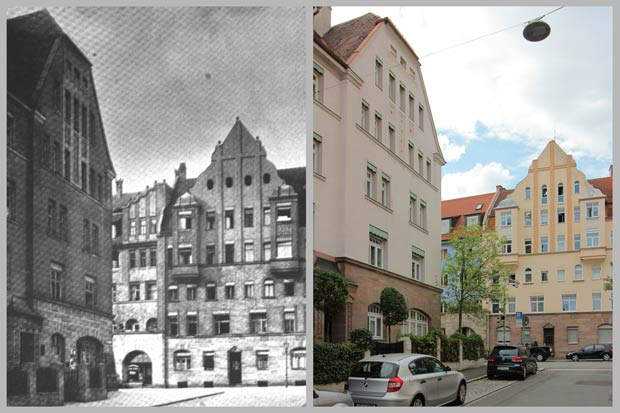 Blick von der Freytagstraße nach Norden, zwischen 1910 und 1919 und 2016