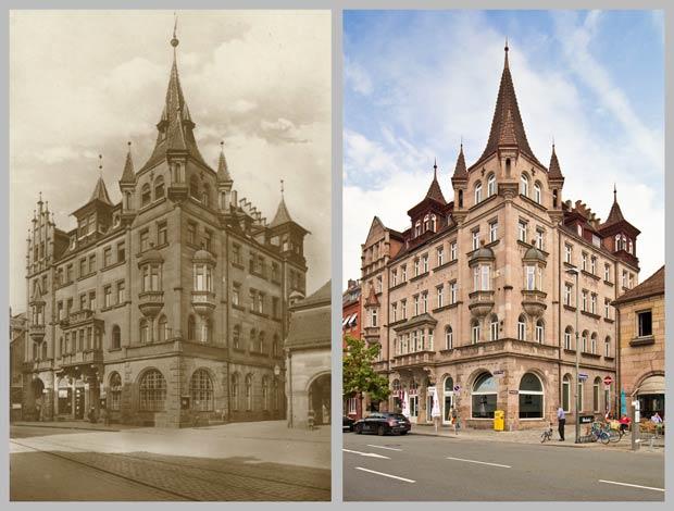 Das frühere Hotel Maximilian, zwischen 1905 und 1928 und 2016