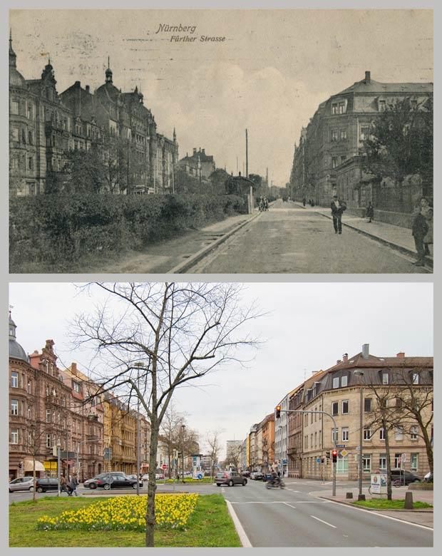 Die Fürther Straße an der Kreuzung Will- und Kernstraße, zwischen 1905 und 1910 und 2016