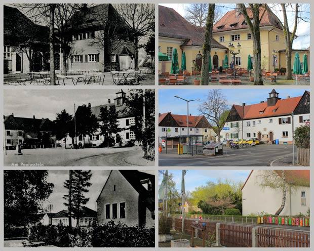 Siedlungsgaststätte, Platz Am Paulusstein und Schulhaus in Buchenbühl, zwischen 1935 und 1945 und 2016.