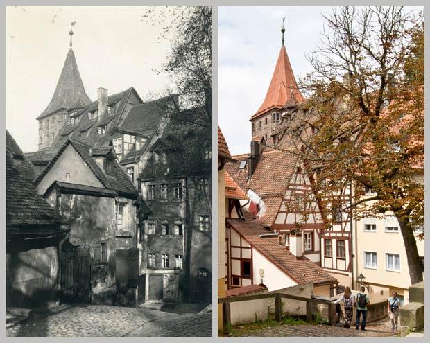 Blick von der Straße Am Ölberg auf Tiergärtnertorturm und Pilatushaus, zwischen 1905 und 1945 und 2016