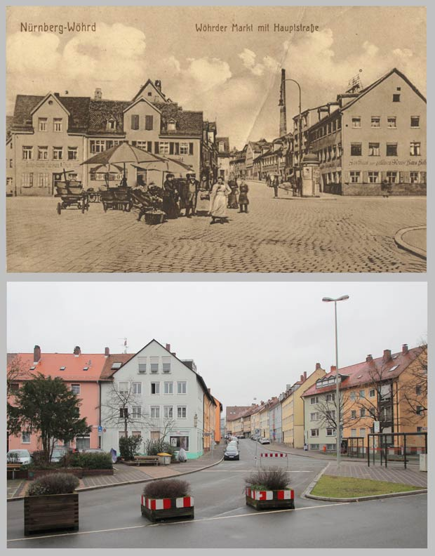 Die Wöhrder Hauptstraße an der Kreuzung Wassertorstraße, 1905 und 2016