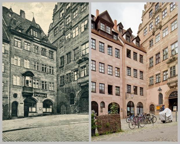 Das Haus Burgstraße 13, später Nr. 11, und das Fembohaus, zwischen 1913 und 1926 und 2016.