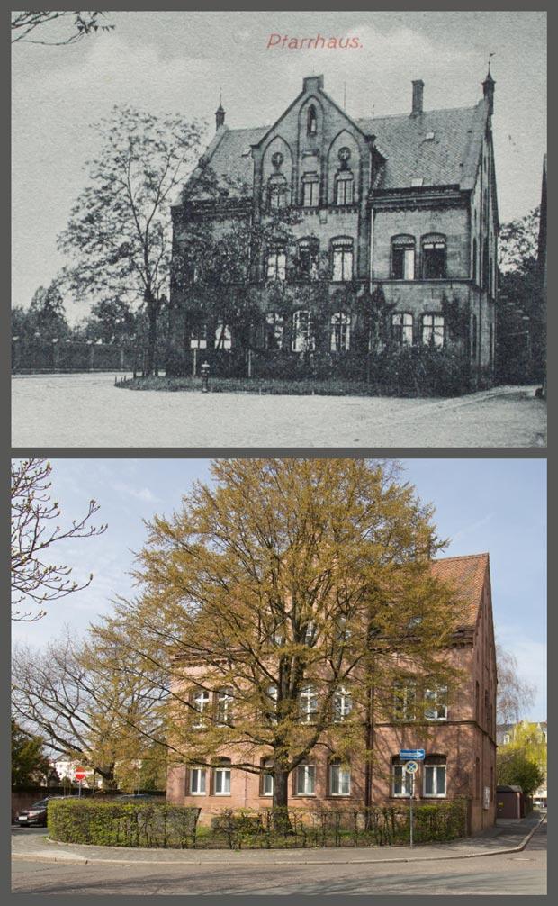 Das Pfarrhaus bei Sankt Johannis, zwischen 1905 und 1906 und 2016.
