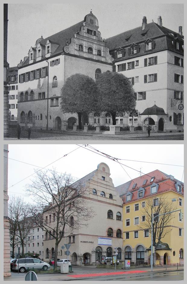 Der Hubertussaal, von der Dianastraße aus gesehen, 1918 und 2016.