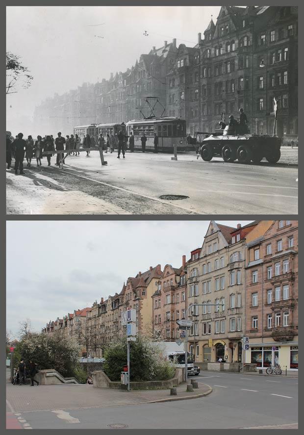 Die Fürther Straße im Bereich der Häuser Nummer 81 bis 95, 1946 und 2016.