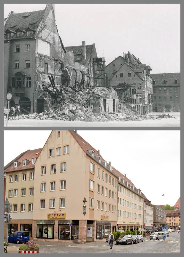 Die Kreuzung Tucherstraße und Obstmarkt mit Blick zum Heilig-Geist-Spital, 1943 und 2016.