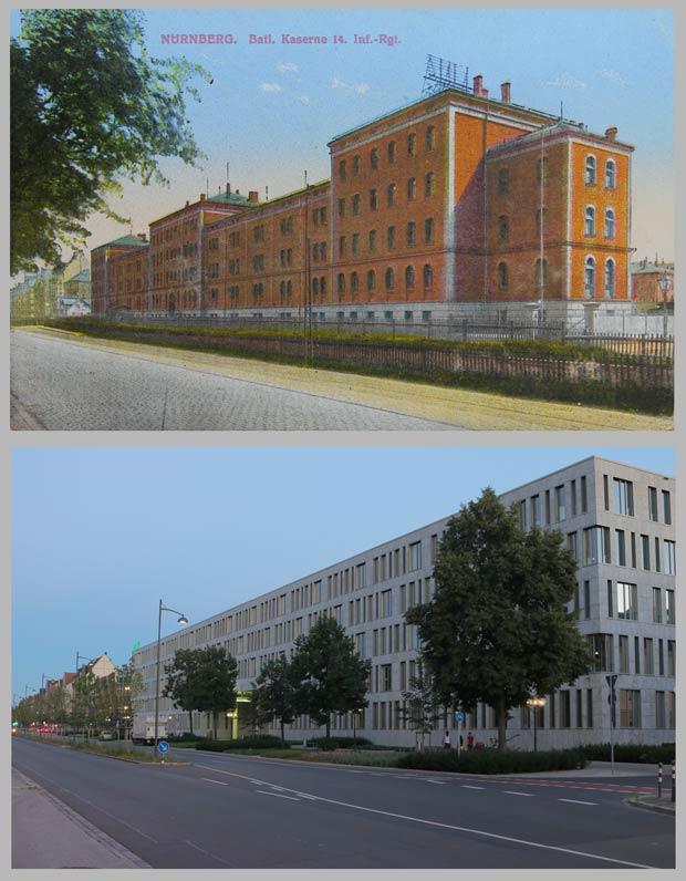 Das Gebäude Fürther Straße 111, 1910 und 2016.